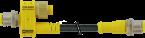 T-coupler M12male 5p/M12male+cable 2p+female 8p
