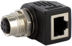 M12 Bu. D-cod. / RJ45 Ethernet-Adapter 90° 4-pol.