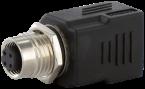 M12 Bu. D-cod. / RJ45 Ethernet-Adapter 0° 4-pol.