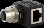 M12 Bu. D-cod. / RJ45 Ethernet-Adapter 90° 4-pol.