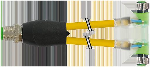 M12 Y-distributor / M8 female 90° LED